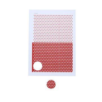 Stickers 4 cm hartjes wit/rood