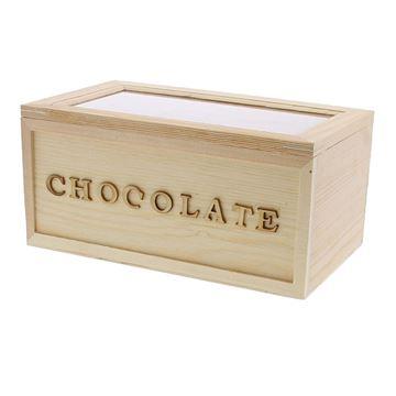Chocolate rechthoekige doos met venster 750g
