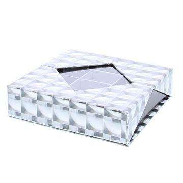 Hologram vierkant plat 12 vakken zilver-zwart