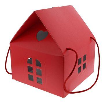 Huis Lino Rosso H=28 cm met koord rood