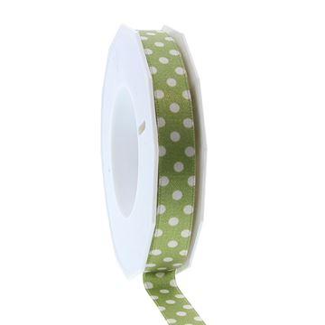Satijnlint Dots 15mmx20m groen
