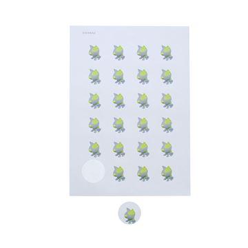 Sticker 4 cm Pitty grijs-lemon