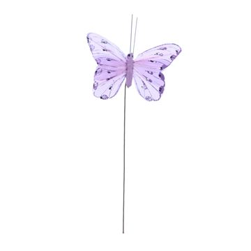 Distelvlinder op stick lila