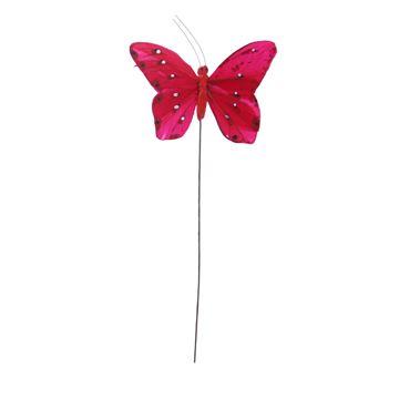 Distelvlinder op stick rood
