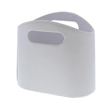 Lederen tas 2 oren medium wit