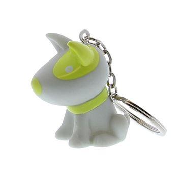 Hond Pitty sleutelhanger grijs-lemon