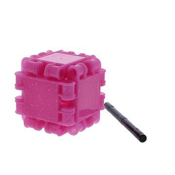 Clics voor kubus met asje glitter fuchsia