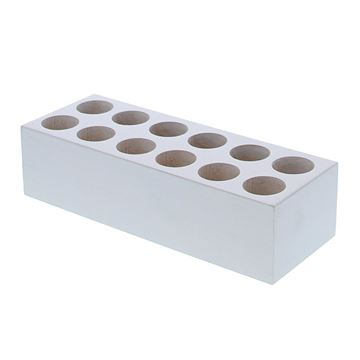 Rechthoekige blok voor 12 proefbuisjes wit