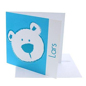 Geboortekaart vierkant beer stippel blauw