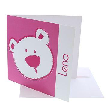 Geboortekaart vierkant beer stippel fuchsia
