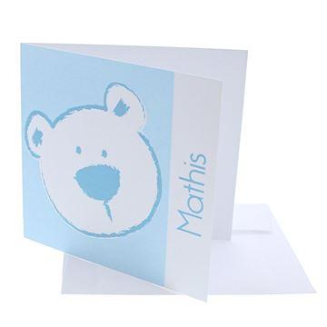 Geboortekaart vierkant beer stippel licht blauw