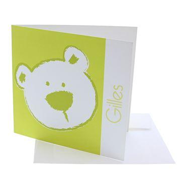 Geboortekaart vierkant beer stippel lemon