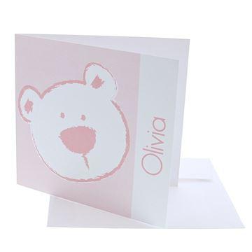 Geboortekaart vierkant beer stippel licht roze