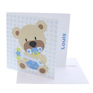 Geboortekaart beer Mimar lichtblauw