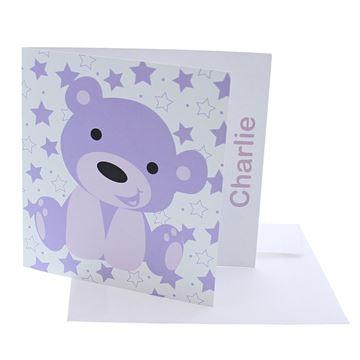 Geboortekaart beer Bub lila