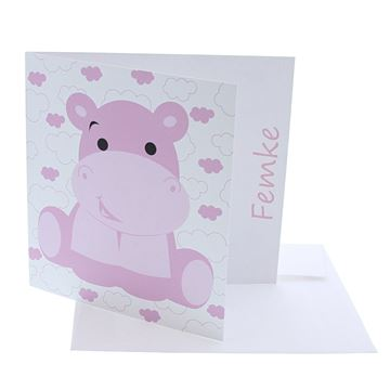 Geboortekaart nijlpaard Hipster licht roze