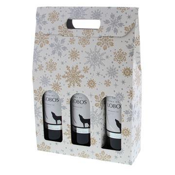 Kartonnen doos 3 flessen met venster Crystal wit