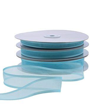 Lint satijnrand 10 mm x 50 m aqua blauw 635