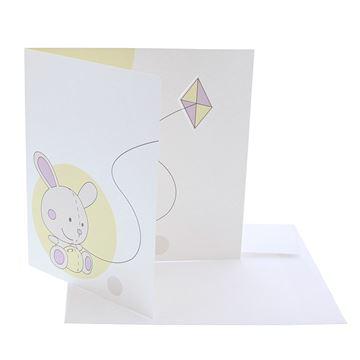 Kite bunny geboortekaart met envelop