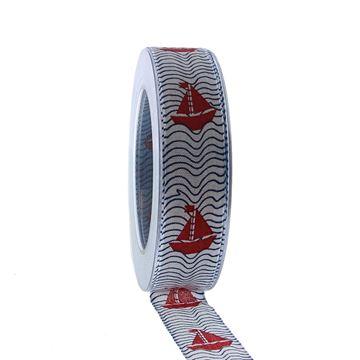Lint Segelboot 25mmx20m wit - rood 01