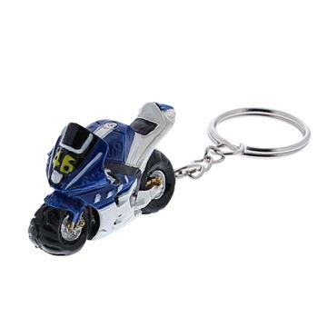 Racemotor sleutelhanger blauw
