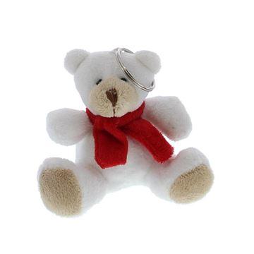 Beer Teddy met rode sjaal sleutelhanger