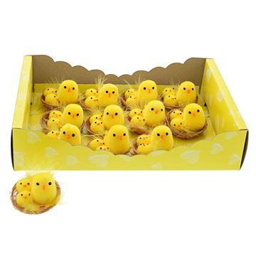 3 kuikens in nest geel