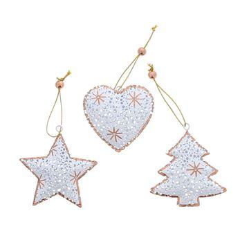 Rosé brons kerstboom-ster-hart hanger KM