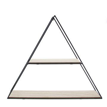 2-traps driehoek in zwart metaal en naturel hout