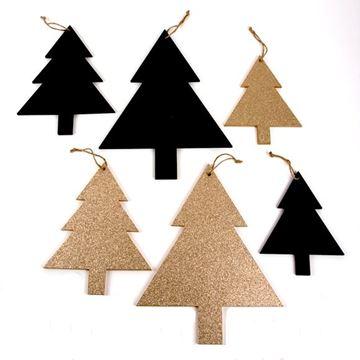 Pines dennenboom hout deco hanger zwart - goud GM