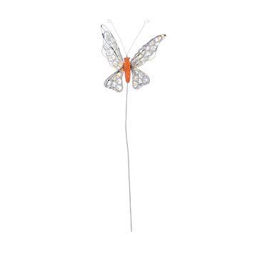 Vlinder paillette op stick oranje