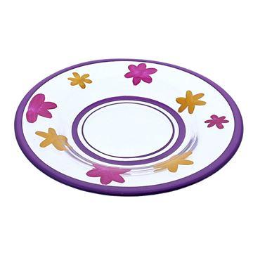 Glazen bord flowerfun paars