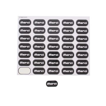 Sticker blinkend Merci KM zwart