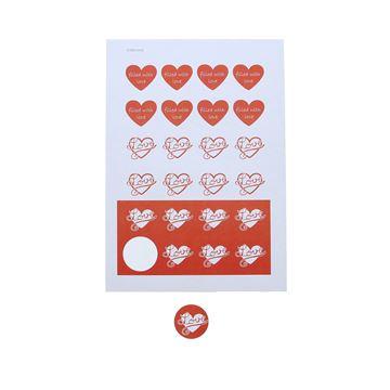 Sticker 4cm op A4 Love