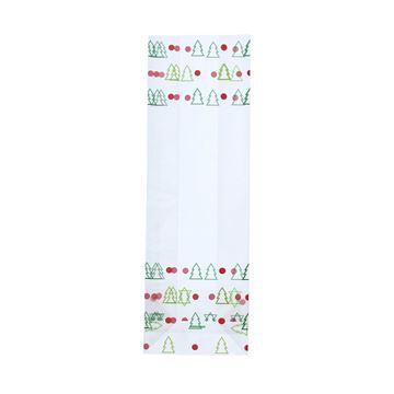 PP blokbodemzak bedrukt Kerstboom 80 + 50 x 250 mm