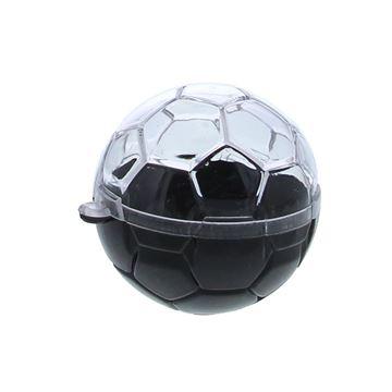 Plexi voetbal 6 cm met lus zwart - transparant