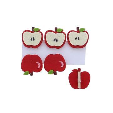Appel en klokhuis speld rood