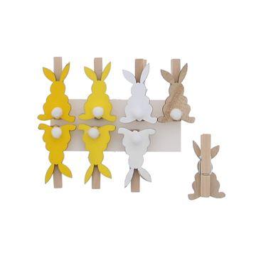 Pompon konijn speld geel