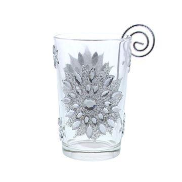 Dahlia glitter glas met theelichthouder
