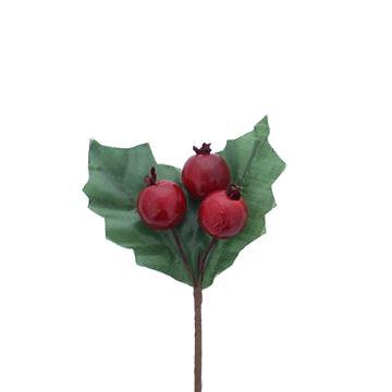2 hulstbladeren groen met 3 rode bessen