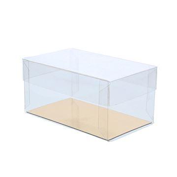 PVC doos met deksel  10 x 6 x 5 cm met goudkarton         Z116