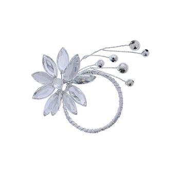 Lewisia 1 bloem met parels zilver