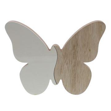Vlinder naturel - wit GM