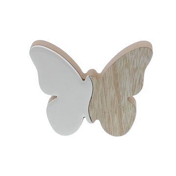 Vlinder naturel - wit KM