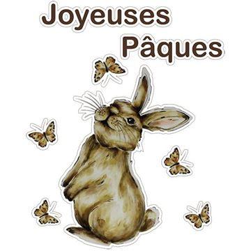 Raamsticker blinkend konijn Muffin Joyeuses Pâques