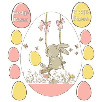 Raamsticker blinkend Bunny swing ei Vrolijk Pasen