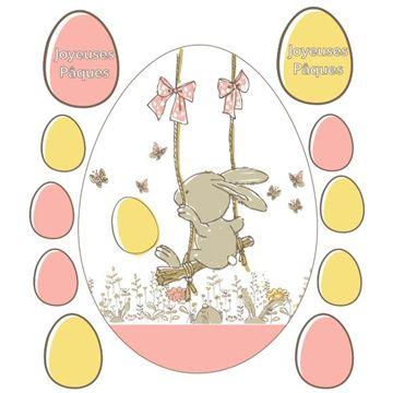 Raamsticker blinkend Bunny swing ei Joyeuses Pâques