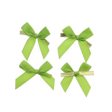 Strik met clip 6x6cm 2 lussen 15mm  kleur 22 groen