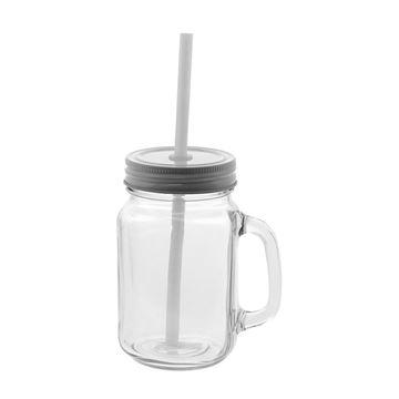 Afbeeldingen van Vierkante glazen drinkbeker met rietje medium