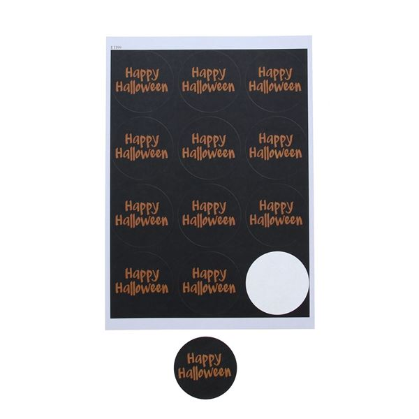 Sticker 6,35 cm Happy Halloween zwart - oranje